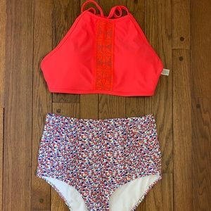 Aerie coral high neck halter & high waist bottoms